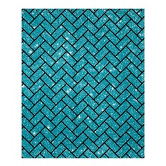Brick2 Black Marble & Turquoise Glitter Shower Curtain 60  X 72  (medium)  by trendistuff