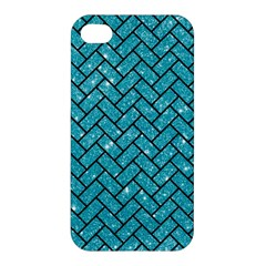 Brick2 Black Marble & Turquoise Glitter Apple Iphone 4/4s Hardshell Case