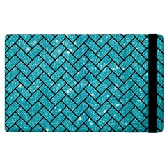 Brick2 Black Marble & Turquoise Glitter Apple Ipad 2 Flip Case by trendistuff