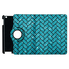Brick2 Black Marble & Turquoise Glitter Apple Ipad 3/4 Flip 360 Case by trendistuff