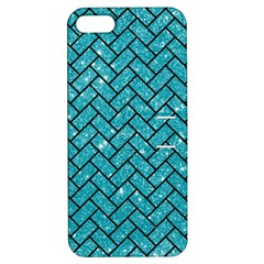 Brick2 Black Marble & Turquoise Glitter Apple Iphone 5 Hardshell Case With Stand by trendistuff