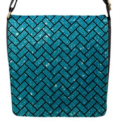 Brick2 Black Marble & Turquoise Glitter Flap Messenger Bag (s) by trendistuff