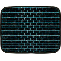 Brick1 Black Marble & Turquoise Glitter (r) Fleece Blanket (mini) by trendistuff