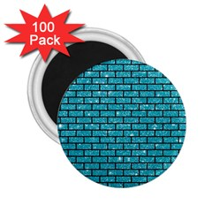 Brick1 Black Marble & Turquoise Glitter 2 25  Magnets (100 Pack)  by trendistuff