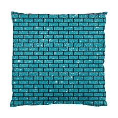 Brick1 Black Marble & Turquoise Glitter Standard Cushion Case (two Sides)