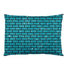Brick1 Black Marble & Turquoise Glitter Pillow Case by trendistuff