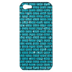 Brick1 Black Marble & Turquoise Glitter Apple Iphone 5 Hardshell Case by trendistuff