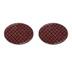 Woven2 Black Marble & Red Glitter (r)woven2 Black Marble & Red Glitter (r) Cufflinks (oval) by trendistuff