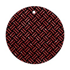 Woven2 Black Marble & Red Glitter (r)woven2 Black Marble & Red Glitter (r) Round Ornament (two Sides) by trendistuff