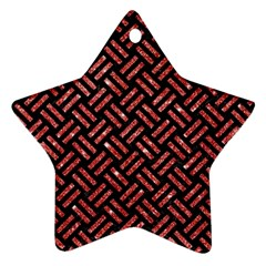 Woven2 Black Marble & Red Glitter (r)woven2 Black Marble & Red Glitter (r) Star Ornament (two Sides) by trendistuff