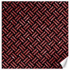 Woven2 Black Marble & Red Glitter (r)woven2 Black Marble & Red Glitter (r) Canvas 12  X 12   by trendistuff