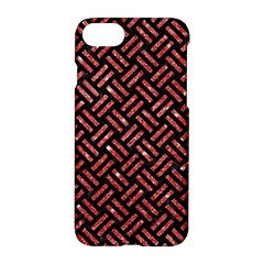 Woven2 Black Marble & Red Glitter (r)woven2 Black Marble & Red Glitter (r) Apple Iphone 8 Hardshell Case by trendistuff