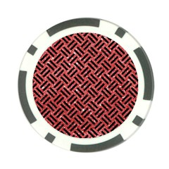 Woven2 Black Marble & Red Glitter Poker Chip Card Guard (10 Pack) by trendistuff