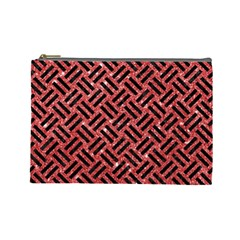 Woven2 Black Marble & Red Glitter Cosmetic Bag (large)  by trendistuff