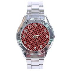 Woven2 Black Marble & Red Glitter Stainless Steel Analogue Watch by trendistuff