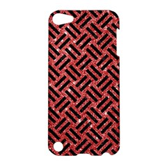 Woven2 Black Marble & Red Glitter Apple Ipod Touch 5 Hardshell Case by trendistuff