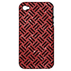 Woven2 Black Marble & Red Glitter Apple Iphone 4/4s Hardshell Case (pc+silicone) by trendistuff