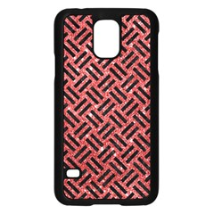 Woven2 Black Marble & Red Glitter Samsung Galaxy S5 Case (black) by trendistuff