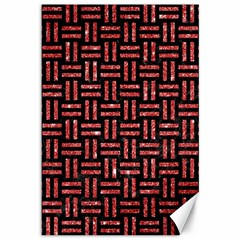 Woven1 Black Marble & Red Glitter (r) Canvas 12  X 18   by trendistuff