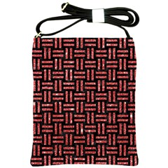 Woven1 Black Marble & Red Glitter (r) Shoulder Sling Bags by trendistuff