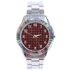 Woven1 Black Marble & Red Glitter (r) Stainless Steel Analogue Watch by trendistuff