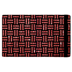 Woven1 Black Marble & Red Glitter (r) Apple Ipad 2 Flip Case by trendistuff