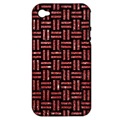 Woven1 Black Marble & Red Glitter (r) Apple Iphone 4/4s Hardshell Case (pc+silicone) by trendistuff