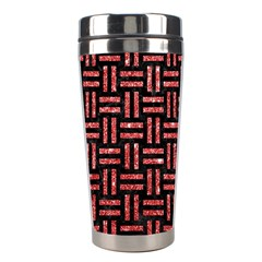 Woven1 Black Marble & Red Glitter (r) Stainless Steel Travel Tumblers by trendistuff