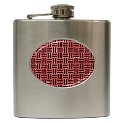 Woven1 Black Marble & Red Glitter Hip Flask (6 Oz) by trendistuff