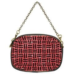 Woven1 Black Marble & Red Glitter Chain Purses (two Sides)  by trendistuff