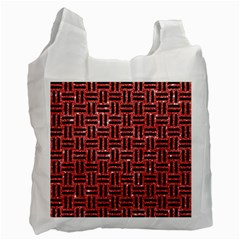 Woven1 Black Marble & Red Glitter Recycle Bag (two Side)  by trendistuff