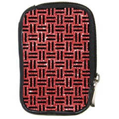 Woven1 Black Marble & Red Glitter Compact Camera Cases by trendistuff