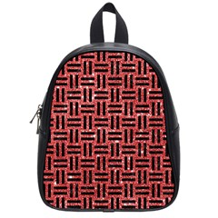Woven1 Black Marble & Red Glitter School Bag (small) by trendistuff