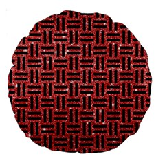 Woven1 Black Marble & Red Glitter Large 18  Premium Round Cushions by trendistuff