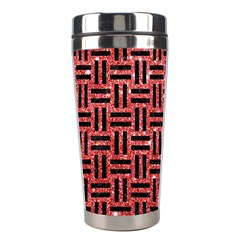 Woven1 Black Marble & Red Glitter Stainless Steel Travel Tumblers by trendistuff