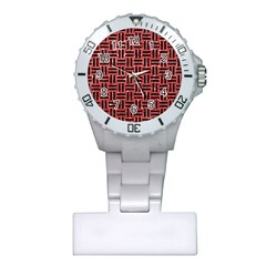 Woven1 Black Marble & Red Glitter Plastic Nurses Watch by trendistuff