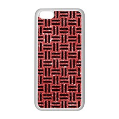 Woven1 Black Marble & Red Glitter Apple Iphone 5c Seamless Case (white) by trendistuff