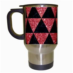 Triangle3 Black Marble & Red Glitter Travel Mugs (white) by trendistuff