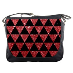 Triangle3 Black Marble & Red Glitter Messenger Bags by trendistuff