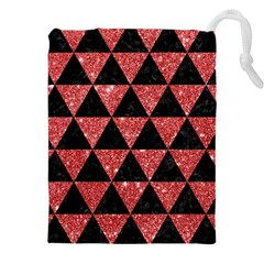 Triangle3 Black Marble & Red Glitter Drawstring Pouches (xxl) by trendistuff
