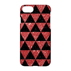 Triangle3 Black Marble & Red Glitter Apple Iphone 7 Hardshell Case by trendistuff