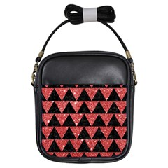 Triangle2 Black Marble & Red Glitter Girls Sling Bags by trendistuff