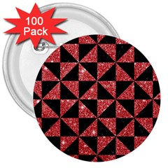 Triangle1 Black Marble & Red Glitter 3  Buttons (100 Pack)  by trendistuff