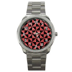 Triangle1 Black Marble & Red Glitter Sport Metal Watch