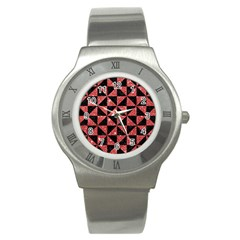 Triangle1 Black Marble & Red Glitter Stainless Steel Watch by trendistuff