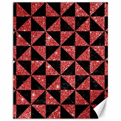 Triangle1 Black Marble & Red Glitter Canvas 11  X 14   by trendistuff