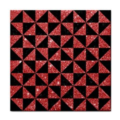 Triangle1 Black Marble & Red Glitter Face Towel by trendistuff