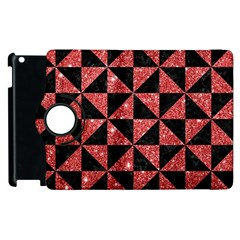 Triangle1 Black Marble & Red Glitter Apple Ipad 2 Flip 360 Case by trendistuff