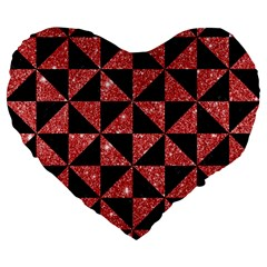 Triangle1 Black Marble & Red Glitter Large 19  Premium Flano Heart Shape Cushions by trendistuff