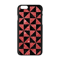 Triangle1 Black Marble & Red Glitter Apple Iphone 6/6s Black Enamel Case by trendistuff